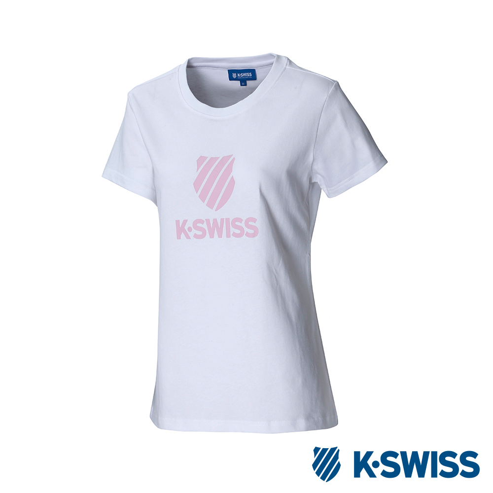 K-SWISS Shield Logo Tee印花短袖T恤-女-白