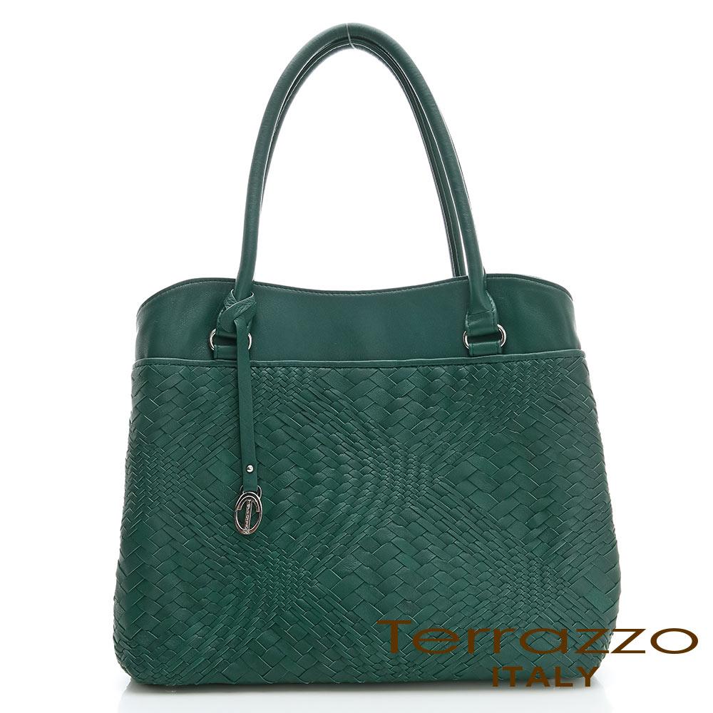 【Tree House】義大利Terrazzo 全羊皮手工編織OL三隔層TOTE包-彩綠色 23G4545B10304