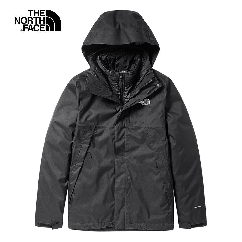 The North Face北面男款黑色防水透氣戶外三合一外套|3RKAJK3