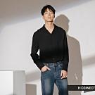H:CONNECT 韓國品牌 男裝-純色素面嫘縈襯衫-黑