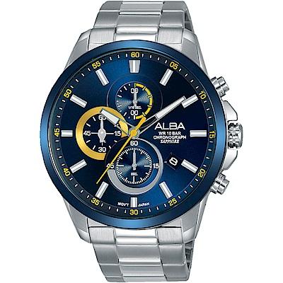 ALBA雅柏 新潮三眼計時運動錶(AM3663X1)-藍/44mm
