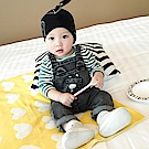 Baby unicorn 綠白條紋小熊牛仔吊帶褲套裝2件組