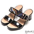 DIANA 繽紛色塊拼接寬繞帶方釦涼拖鞋-幾何時尚-黑