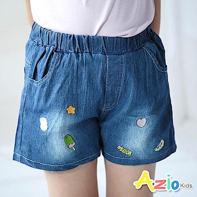 Azio Kids 短褲 線繡可愛小物刷白牛仔鬆緊短褲(藍)