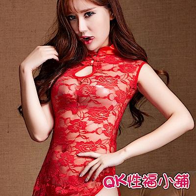 QK性福小鋪 粉色透明蕾絲柔紗旗袍睡袍 QK006
