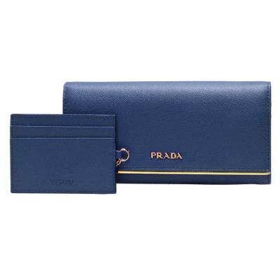 PRADA SAFFIANO系列金色浮雕LOGO金屬細條防刮牛皮長夾(藏藍-附車票夾)