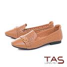 TAS 幾何沖孔金屬皮帶扣尖頭樂福鞋-俐落卡其
