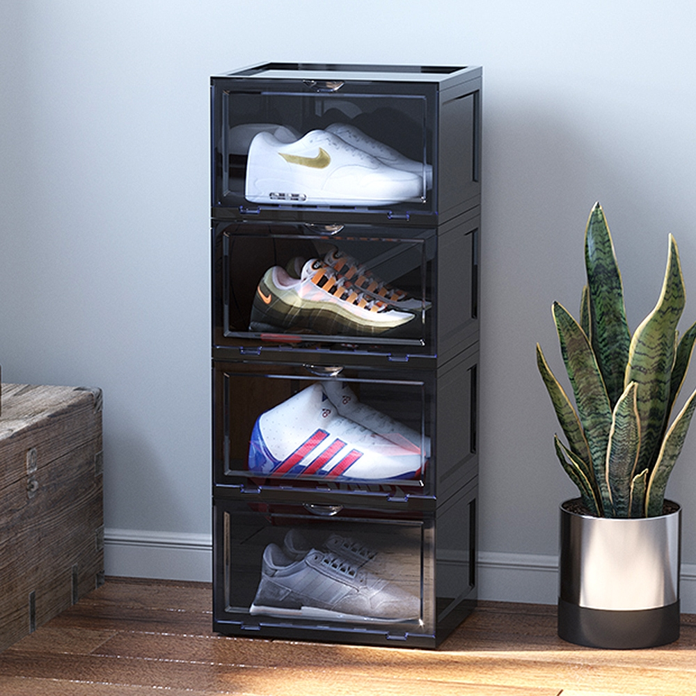 Mr.box  磁吸式超透明壓克力門板防塵鞋盒 4入組 (兩色可選)
