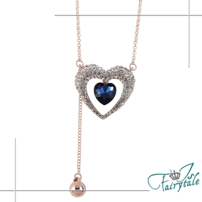 iSFairytale伊飾童話 遺落的愛 藍水晶水鑽流蘇長鍊 金