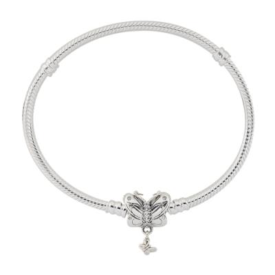 Pandora 潘朵拉 鑲鋯蝴蝶扣 925純銀 蛇鍊手鍊手環