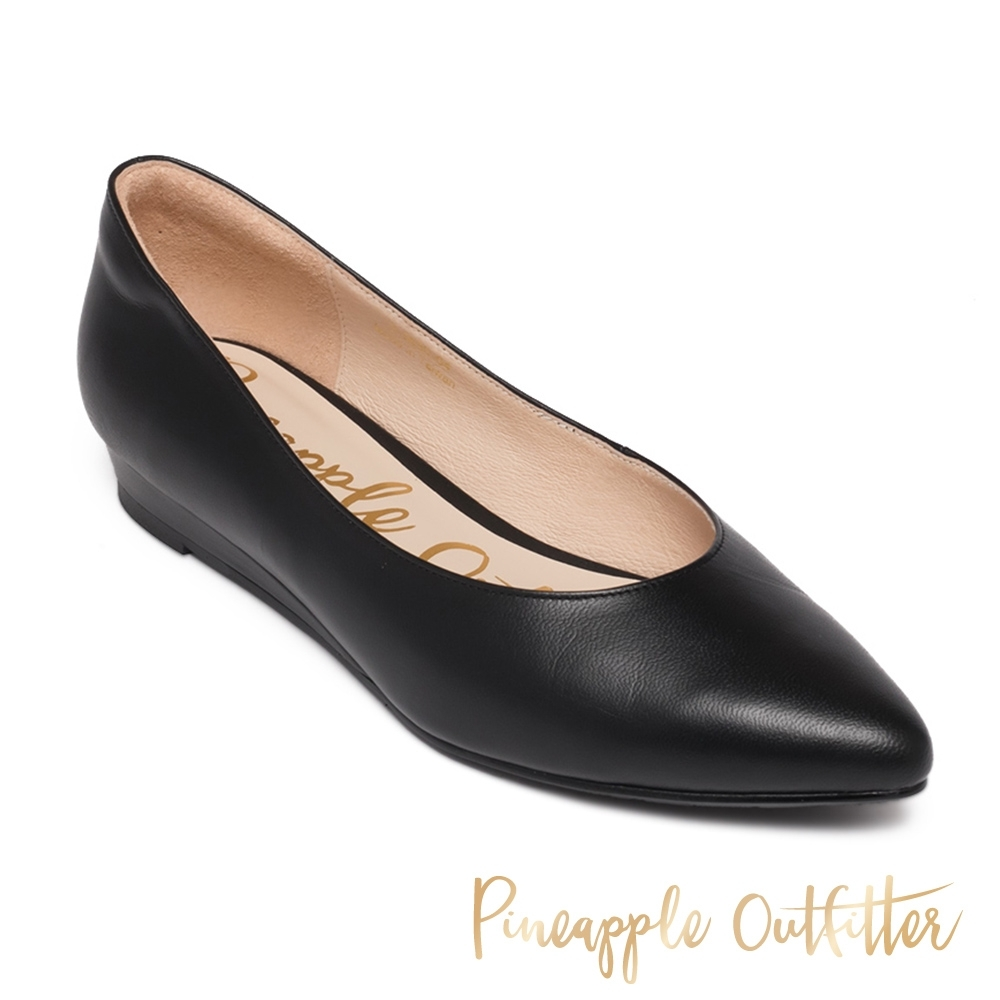 Pineapple Outfitter 時尚百搭款 真皮素面平底鞋-黑色