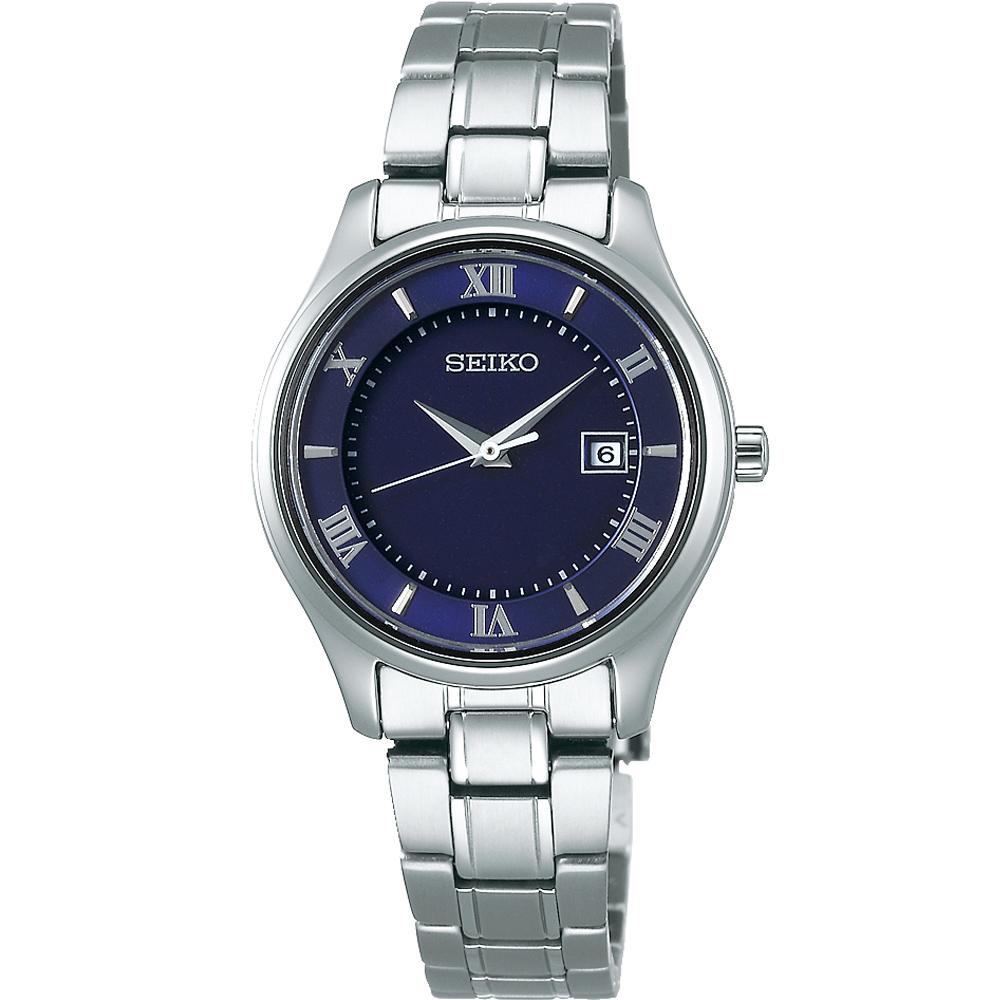SEIKO精工 SPIRIT 鈦金屬 太陽能簡約女錶(STPX065J)-藍/30mm