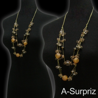A-Surpriz 波西米亞晶球串珠長項鍊(淺咖)