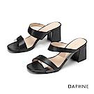 達芙妮DAPHNE 涼鞋-都會時尚幾合拚接條帶粗跟涼鞋-黑色