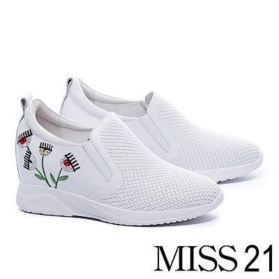 休閒鞋 MISS 21 搞怪時髦電繡媚眼壓紋牛皮內增高休閒鞋-白
