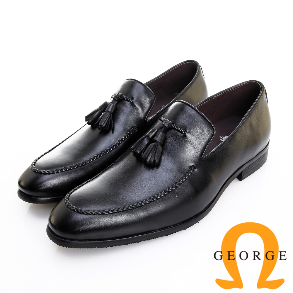 GEORGE 喬治皮鞋 經典系列 素面編織流蘇紳士樂福鞋 -黑