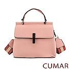 CUMAR 輕奢寬帶兩用斜背包-粉紅色