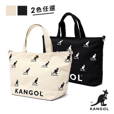 [時時樂限定]【KANGOL】英式經典-品牌LOGO托特包-黑/白(兩款任選) / 原價1280元