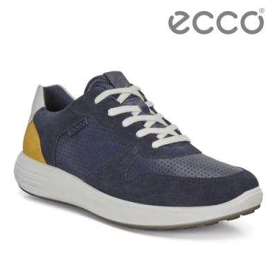ECCO SOFT 7 RUNNER M 拼接撞色透氣休閒鞋 男-藍/黃