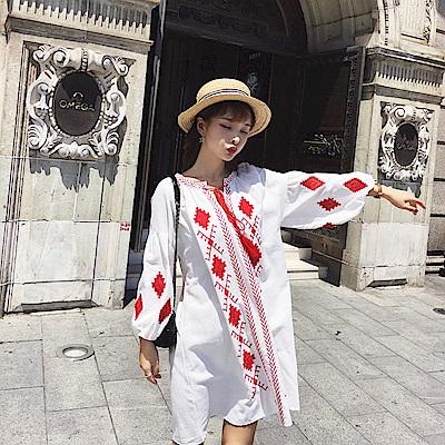 波希米亞風燈籠袖洋裝-S~XL(共二色)-維拉森林