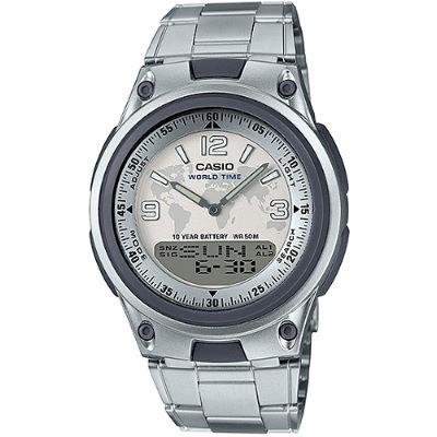 CASIO 都會個性地圖紋雙顯腕錶-鋼帶/白面(AW-80D-7A2)/40mm
