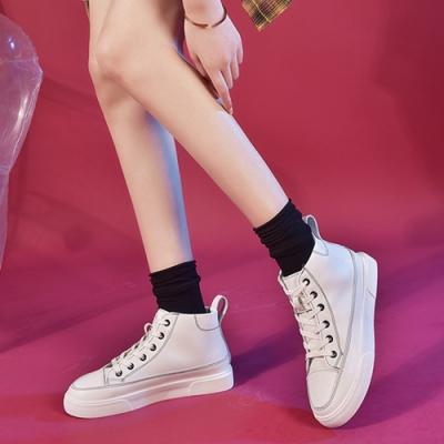 LN 韓版線條厚底增高休閒小白鞋
