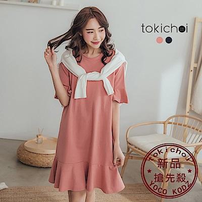 東京著衣-品牌嚴選舒適親膚蝴蝶袖洋裝-S.M.L(共兩色)