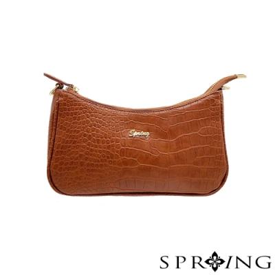 SPRING-圓弧鱷魚皮肩背包-沉穩棕