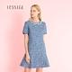 JESSICA-  清新牛仔藍花呢裙擺微喇造型短袖小香風洋裝 product thumbnail 1