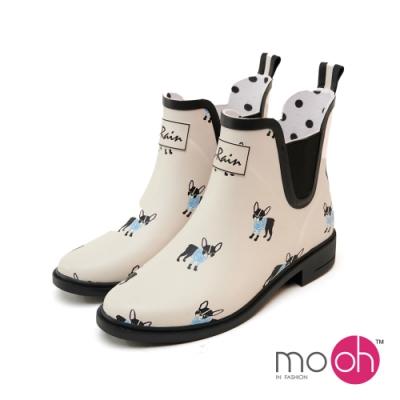 mo.oh防水橡膠小狗短筒雨鞋-灰白色