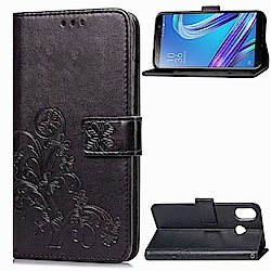 PKG 華碩Zenfone5Z ZS620KL側翻式皮套-精選皮套系列-幸運草-黑