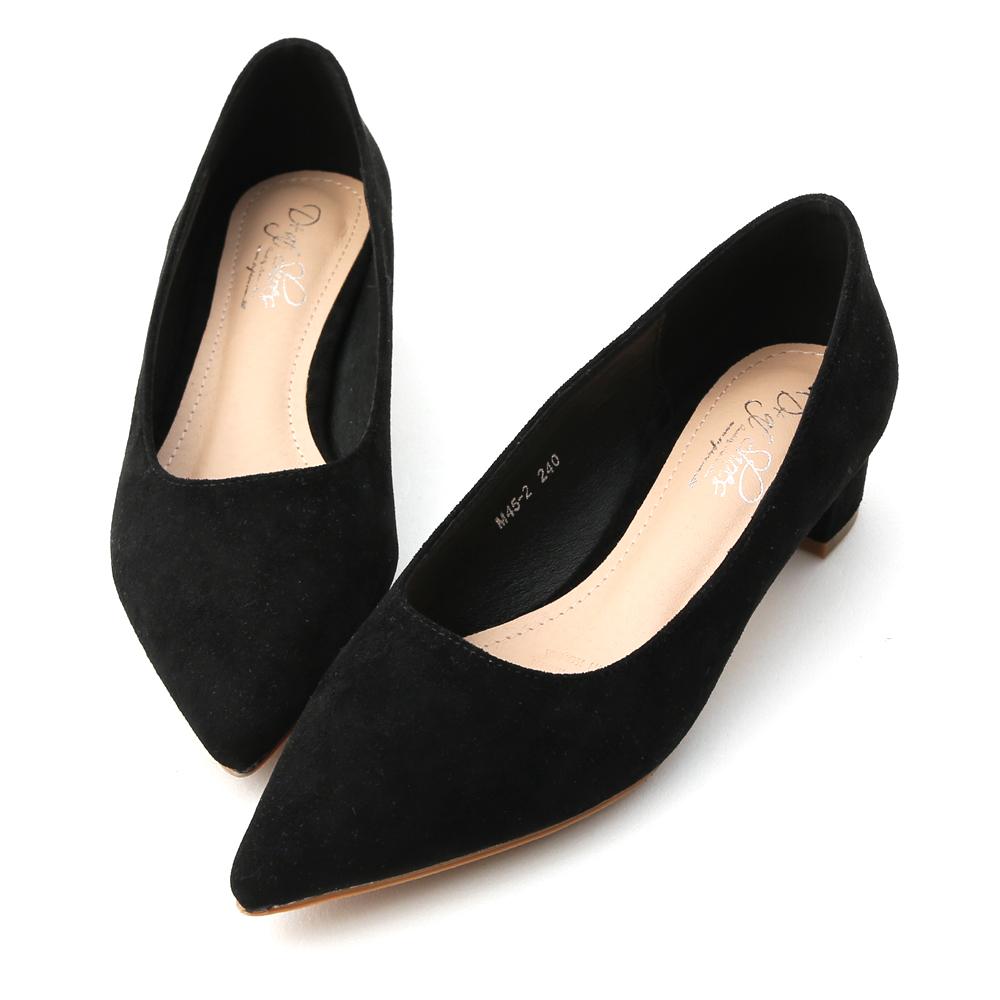 D+AF 典雅氣息.素面絨料尖頭低跟鞋*黑