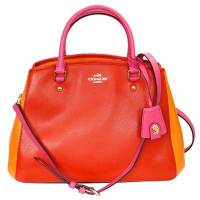 COACH橘紅橙桃撞色防刮全皮雙層大款手提/肩斜背包