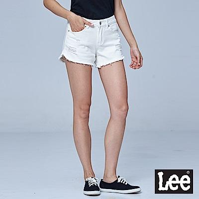 Lee 倒V長腿牛仔短褲-白色-女短褲-LL18