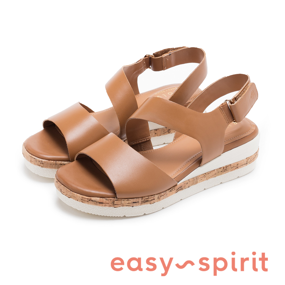 Easy Spirit evKEA-時尚真皮寬帶軟木塞楔型涼鞋-棕色