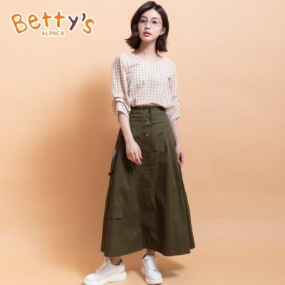 betty's貝蒂思 金屬釦飾顯瘦A字長裙(軍綠色)