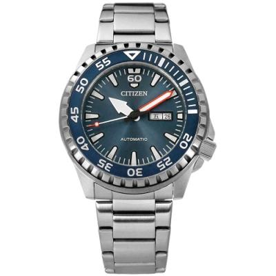 CITIZEN 機械錶 自動上鍊 礦石強化玻璃 日期星期 不鏽鋼手錶-藍色/46mm