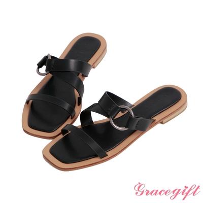 Grace gift-寬帶層次平底涼拖鞋 黑