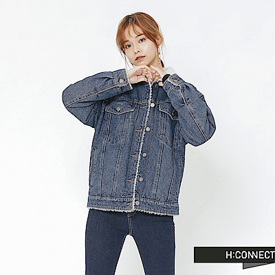 H:CONNECT 韓國品牌 女裝-翻領刷毛牛仔外套-藍