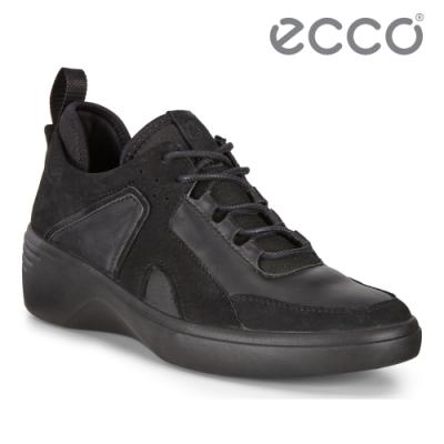 ECCO SOFT 7 WEDGE W 時尚運動風厚底增高休閒鞋 女鞋 黑色