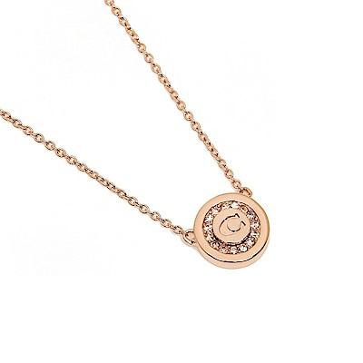 COACH 時尚氣質圓形水鑽C LOGO項鍊(玫瑰金)