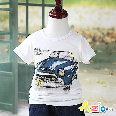 Azio Kids 上衣 字母跑車印花短袖竹節棉T恤(白)