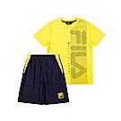 FILA KIDS 童吸濕排汗短袖套裝-黃色 1WTT-4907-YE