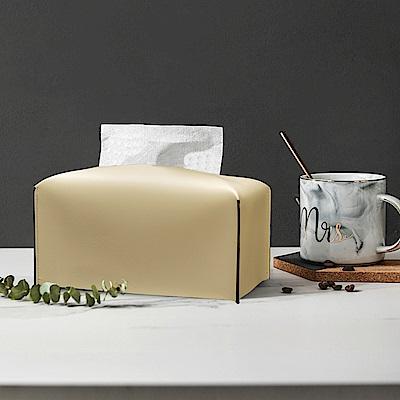 收納職人 北歐ins創意輕奢皮革面紙盒/收納袋(米白色)