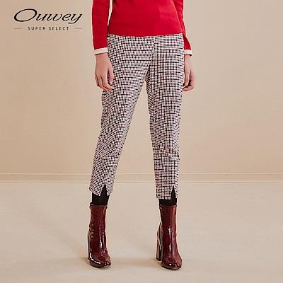 OUWEY歐薇 俏皮小細格紋褲(紅)