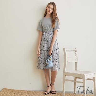 拼接點點層疊紗裙洋裝 共二色 TATA-F