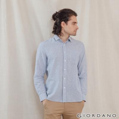 GIORDANO 男裝棉麻長袖襯衫 - 41 海軍藍X白