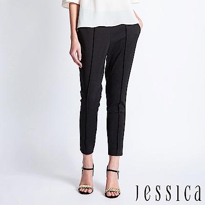 JESSICA - 立體線條素面長褲(黑)
