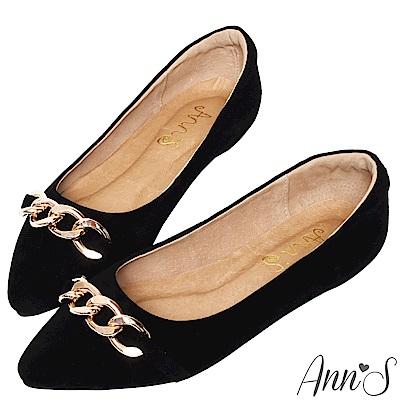 Ann'S深邃質感-金鍊真皮尖頭平底鞋-黑