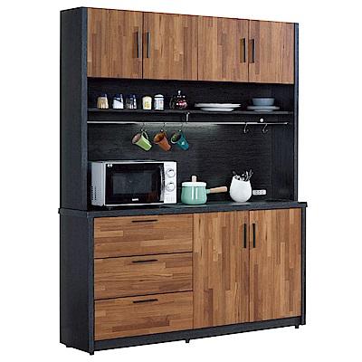 文創集 羅姆時尚5尺雙色六門餐櫃/收納櫃組合-150x40x197cm免組